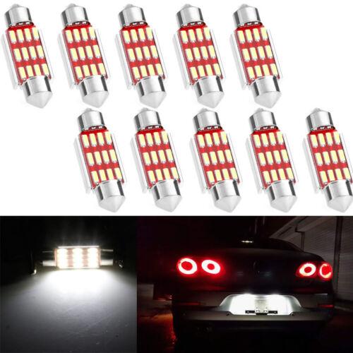 50x 36mm 12SMD 4014 LED Festoon Dome Lamp Car License Plate Light Lights