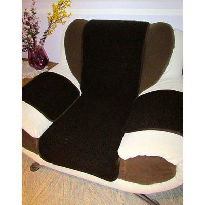 Sesselschoner Polsterauflage Sitzunterlage 3 teilig dunkelbraun 100% Merinowolle