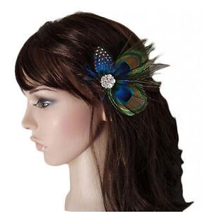 Cute Peacock Feather Bridal Wedding Hair Clip Headpiece Hair Accessory ZNZN