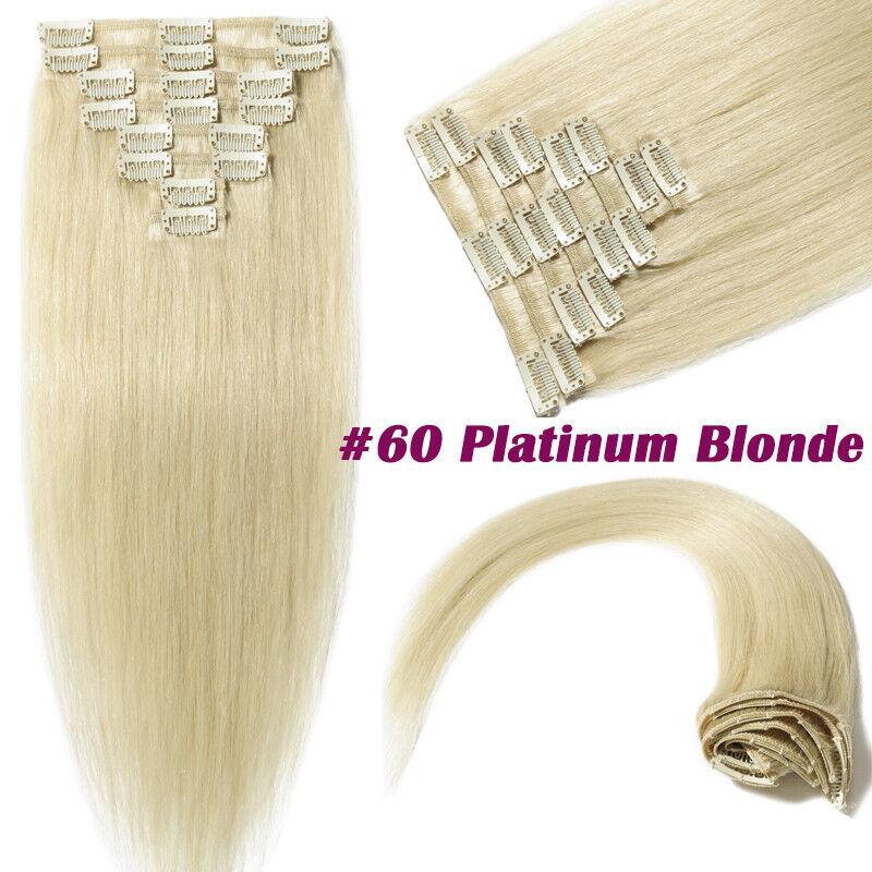 50CM 60CM Echthaar Clip In Extensions Remy Haar Haarverlängerung 8 teilig Set DE #60 Platinblond