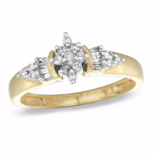 0.25 CT. T.W. Diamond Cluster Ring in 10K Gold