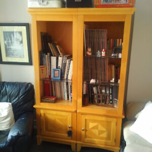 Wooden TV console with side book or display shelves