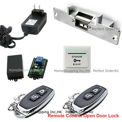 US Door Access Control System with Electric Strike Lock+Remote Control Open Lock