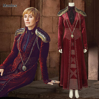 Game of Thrones 8 Cosplay Cersei Lannister Costume Queen Fancy Dress Full Set - Cersei Lannister Dresses