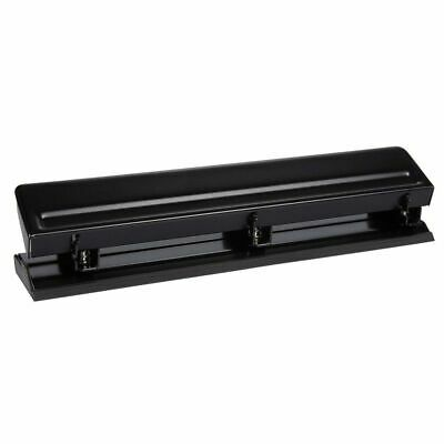 Three Hole Punch Steel 3-hole Puncher Adjustable Black 10.25 X 2.1 X 2.25 Inch