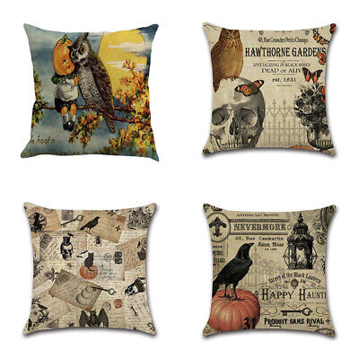 Happy Halloween Square Pillow Cases Crow Linen Sofa Cushion Cover Home
