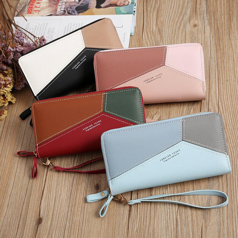 Women's Double Zipper Long Handbag Leather Wallet Phone Holder Clutch Purse US Clothing, Shoes & Accessories