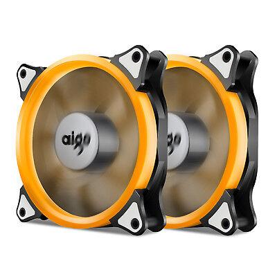 2x Aigo Orange Halo LED 120mm PC CPU Computer Case Cooling Top Airflow Fan Mod Orange Case Fan