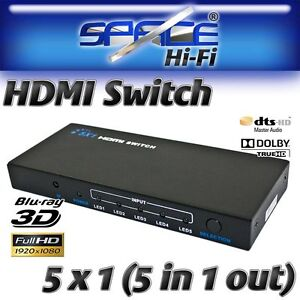 5 Way HDMI Switcher Selector Switch Box 5 in 1 out + Remote 5x1 (3D Compatible)