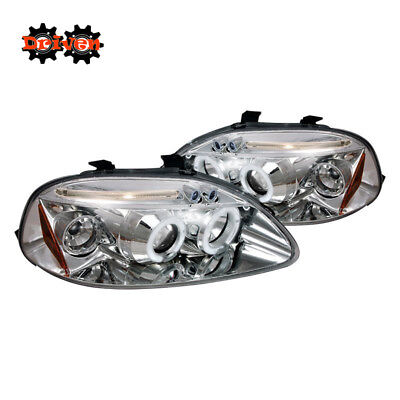 For 96-98 Honda Civic EK Dual Halo Projector Headlights LED DRL Chrome Housing