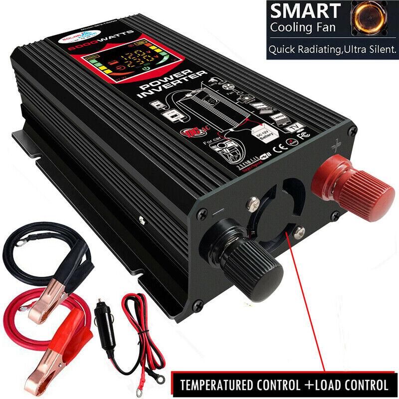 как выглядит 6000W Car Vehicle Power Inverter Converter DC 12V to AC 110V Car Sine Wave 2 USB фото