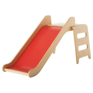 IKEA VIRRE Slide with ladder and guardrail in red and beech