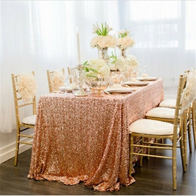 125X200cm Sequin Rectangle Tablecloth Rose Gold Sequin Overlay for Wedding Party
