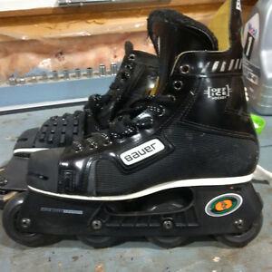 Size 8.5 Bauer Roller Blades and pads