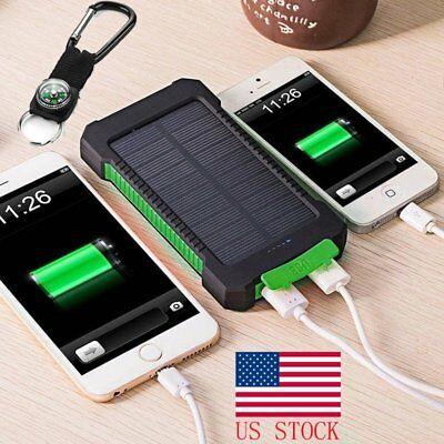 USA 20000mAh Solar Power Bank 2 USB LED Outer Battery Charger For Cell Phones