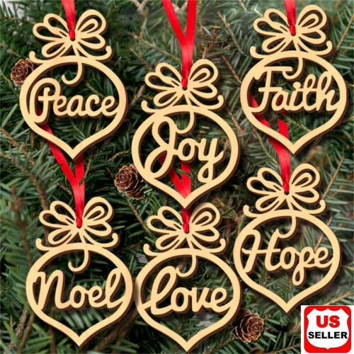 6 Pcs Christmas Decorations Wooden Ornament Xmas Tree Hanging Pendant Ornament Holiday & Seasonal Décor