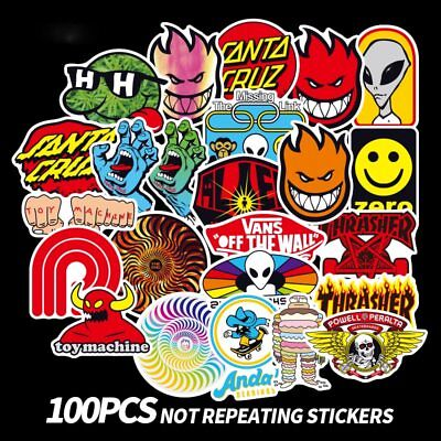 Stickers Wholesale (100pcs Santa Cruz, Spitfire, toy machine Skateboard Stickers waterproof  decal)