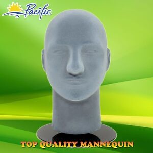 Male mannequin head (Grey Vel Styrofoam) + base - Top Quality