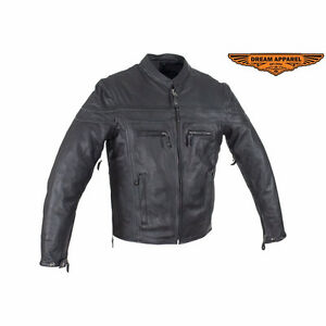 Mens Leather Motorcycle Jacket With Zipper On Front