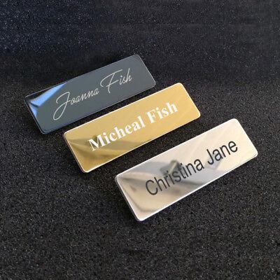 Custom Engraved Metal Name Tag Badge With Pin