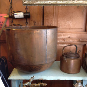 Old copper, pots, pans, basins, kettles, bowls........