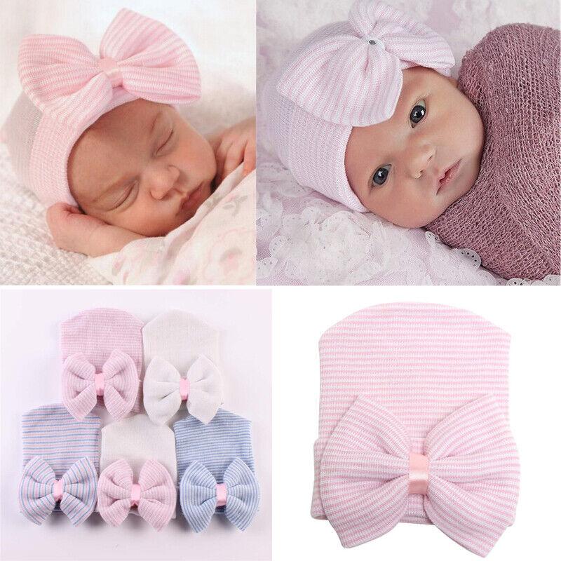 UK Unisex Coming Home Infant Hospital Bow Cap Crochet Newborn Baby Hat Beanie