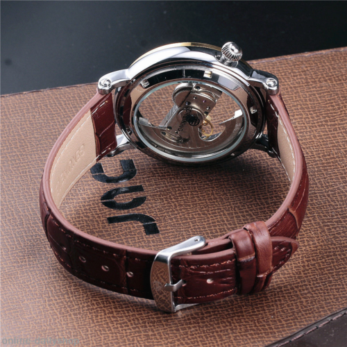 Luxury Men's Skeleton Bridge Leather Steampunk Automatic Mechanical Wrist Watch