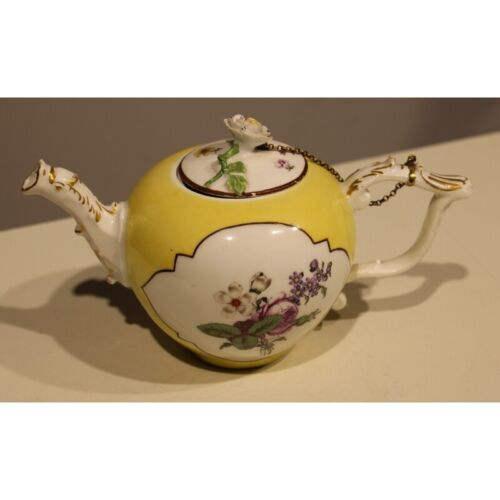 Antique 19th Original Rare Germany Teapot yellow ball Meissen Porcelain Marked
