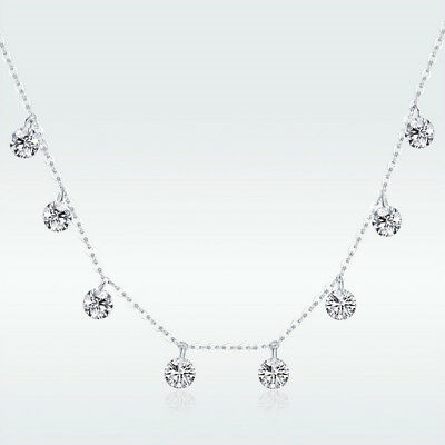Platinum Plated Charm - European New 925 Silver CZ Charm Chain Platinum Plated Advanced Pendant Necklace