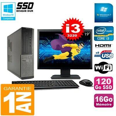 PC DELL 3010 DT Core I3-3220 Ram 16Go Disque 120Go SSD Graveur Wifi W7 Ecran 19