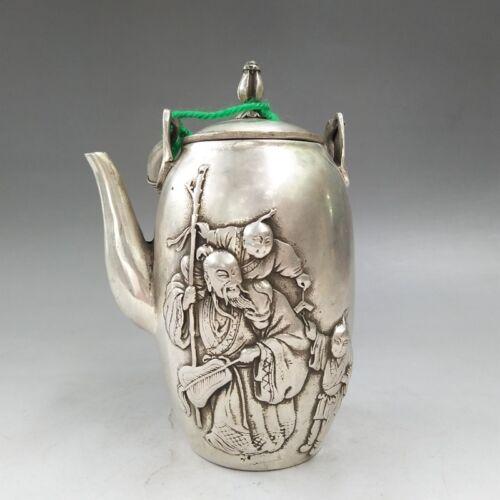 China/'s old  Hand engraving  Tibetan silver  Longfeng  Teapot  Flagon