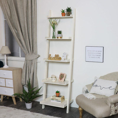 Tall white ladder bookcase storage shelf unit open shelf freestanding display