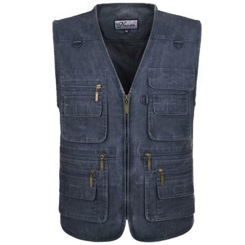 Men's Vest jacket Multi Pocket Camera Outdoor Denim Vest Tra