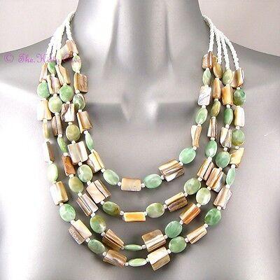 Boho Gypsy Ethnic Green Mop Paua Shell Teeth Mother O Pearl Bib Feature Necklace