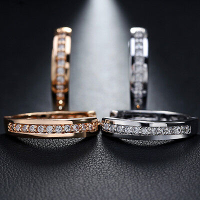 Round Loop Earrings - Women's Round CZ Hoop Huggie Loop Ear Stud Earrings Silver Gold Plated Jewelry