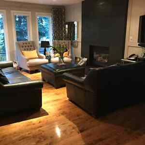 Elite Leather Custom Sofa, Loveseat and Storage Ottoman