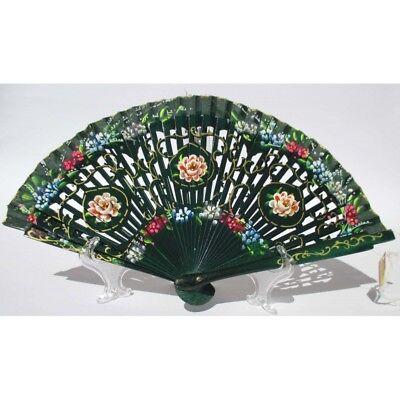Abanico Elegante de Madera Verde Y Algodón Con Diseños Fiorati. Adecuado Para