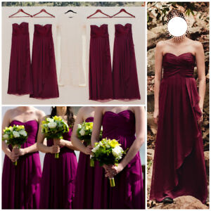 David's Bridal Bridesmaid Sangria Chiffon Dress - Size 0