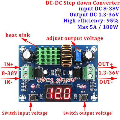 5a Led Dc-dc 9-36v To 3.3v 5v 9v 12v 24v Buck Step Down Converter Volt Regulator