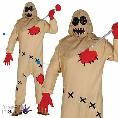 Adults Mens Freaky Voodoo Doll Horror Halloween Fancy Dress Costume With Needle