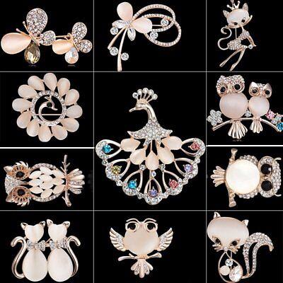 Lovely Cartoon Crystal Gem Cat Owl Animal Brooch Pin Cosage Women Jewelry Party