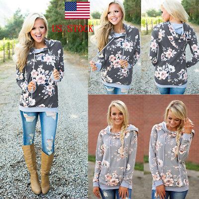Women Hoodies Long Sleeve Pullover Sweater Floral Jumper Sweatshirt Casual Tops