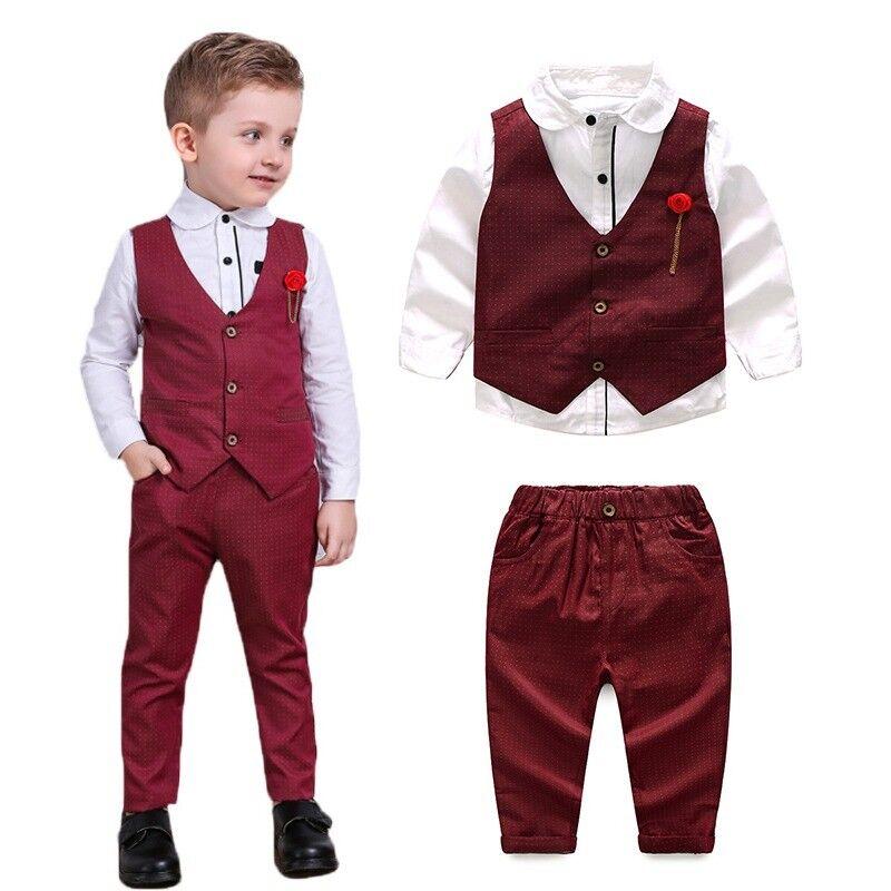 US Kids Boy Wedding Formal Suit Gentleman Christening Waistcoat+Shirt+Pants 3Pcs