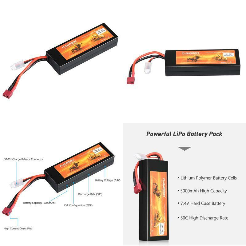 7.4V 5000mAh Lipo Battery 2S 30C Deans Plug RC Battery For R