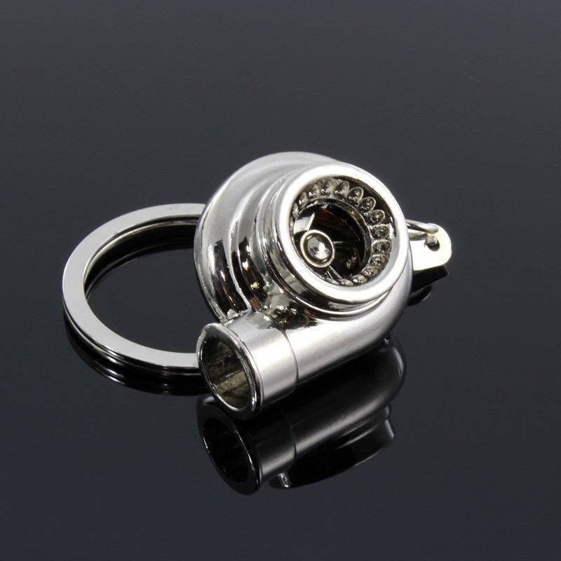 Universal JDM Chrome Bearing Spinning Turbo Charger Turbine Keychain Keyring FOB