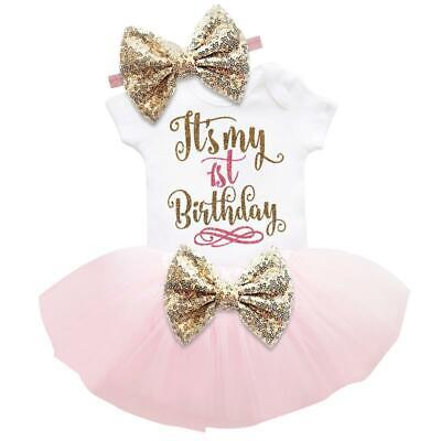 It's My 1st Birthday Sets Baby Girl Tutu Cake Dress Outfit Party Clothes 3pcs