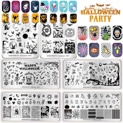 Halloween Party Nail Art Stamping Plates Skull Pumpkin Templates DIY BORN PRETTY - Diy Halloween Nail Art