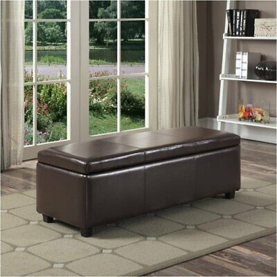 faux leather storage bench in brown