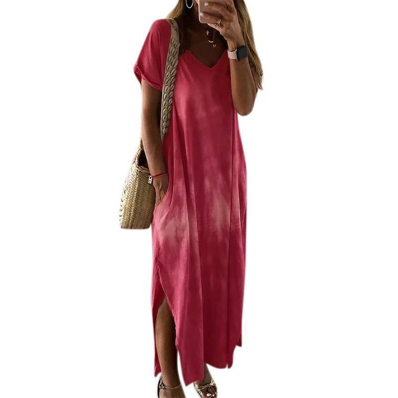 Women Tye Dye Maxi Dress Summer Beach Kaftan Short Sleeve V-Neck Slit Sundress Clothing, Shoes & Accessories