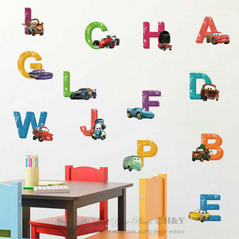 26 Alphabets Disney cars Removable Nursery Baby Kids Wall Stickers Vinyl Decal